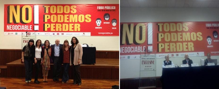 Foro Público Mayo 2013 Lima-Perú,  debate sobre el impacto negativo que generan los Tratados de libre Comercio, el TPP en el acceso a la salud , participación de Integrantes de la RedLam